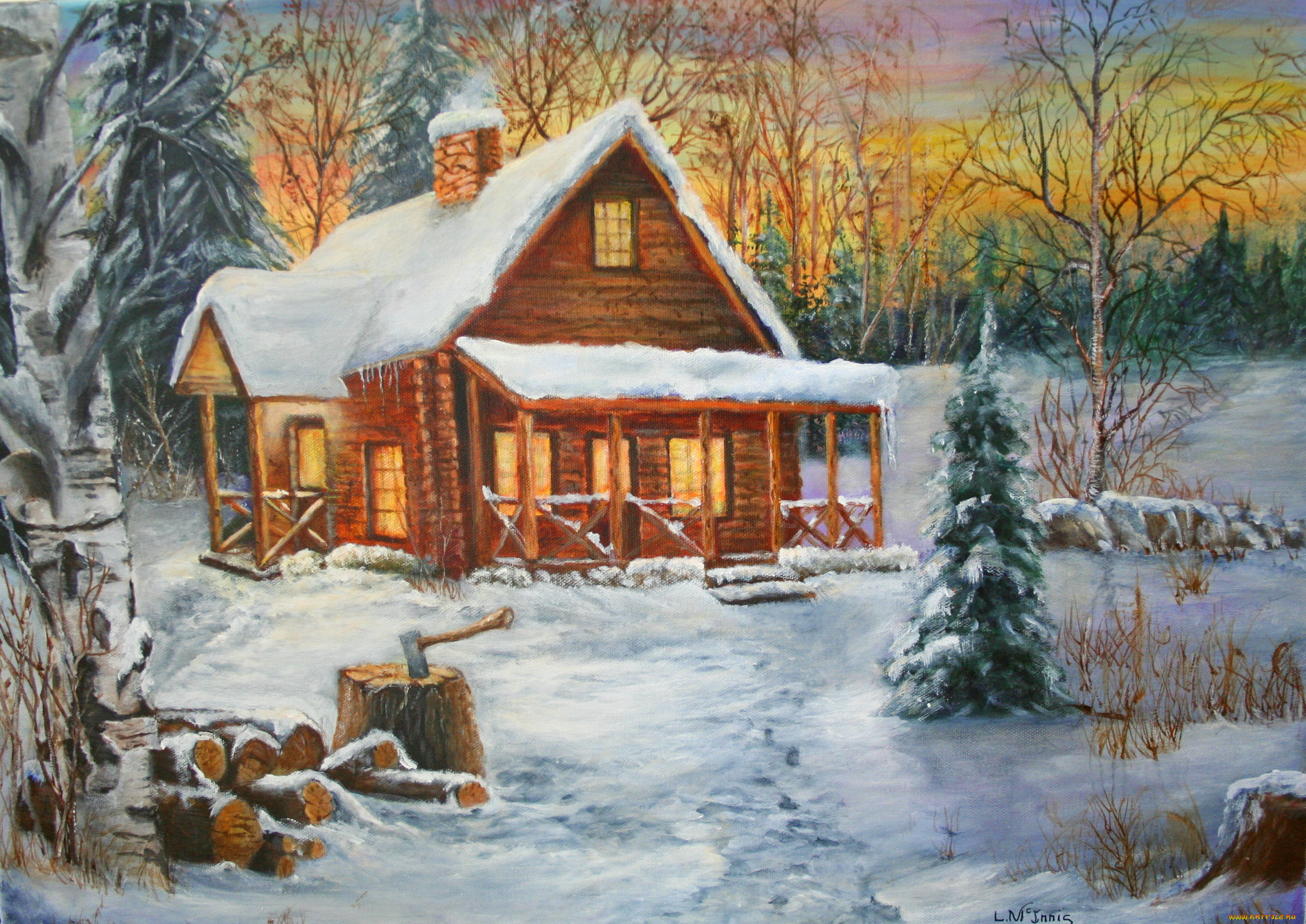 какие-то картинки зима домик в лесу нарисовать более, что